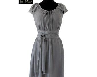 Bridesmaid Chiffon Gray Dress, Custom, Ready Made , Formal, Reception, Wedding Guest