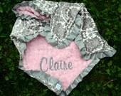 Baby Girl Blanket-Dynasty Grey-Baby Pink Minky Swirl-Satin Ruffle-Personalized-Toddler,Stroller,Crib.Toddler Bed