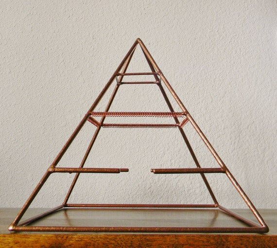 Welded Pyramid Jewelry Display in Copper with Earring Loops and Bracelet Bars