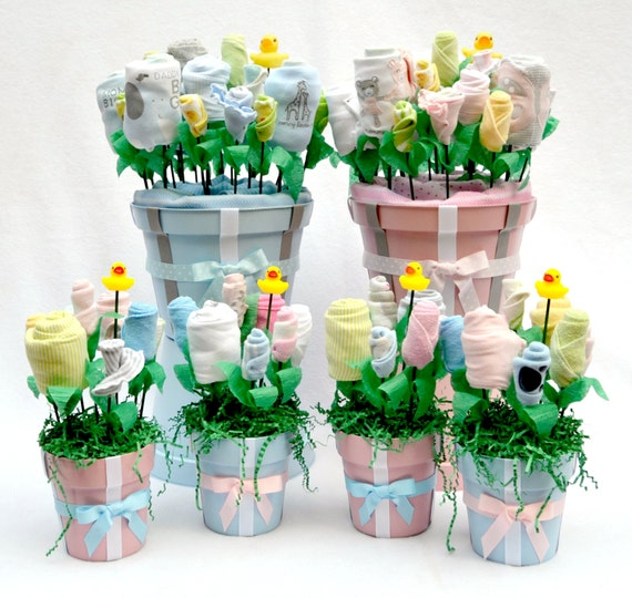 Baby shower centerpieces set of 4 for twins baby by for Baby shower decoration twins