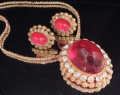 RICHELIEU By Bill Smith Vintage Red Lucite Necklace Set / Haute Couture Necklace Set / Cartier Designer / Signed Jewelry / Holiday Jewelry