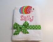 Girls Beach, Bath or Pool towel with Hedgehog Applique in Polka Dot Fabrics, Monogramed