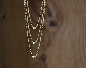 Triune - 3 Tier Gold-Filled Bib Necklace - Modern Chevron Layered Necklace by Prairieoats