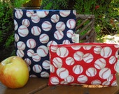 Reusable sandwich and/or snack bag - Reusable sandwich bags - Baseballs, red or blue, your choice