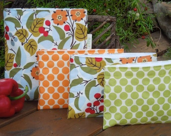 Reusable sandwich and/or snack bags - Reuse sandwich bag - Reusable snack bag - Flowers and berries