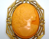 1900's French Celluloid Victorian Women Filigree Brass Frame Raised Carvings Portrait Collectible Estate Bride Retro Statement