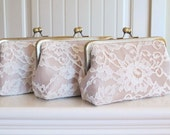 SALE,Silk And  French Chantilly Lace Clutch Set Of 3,Ivory/Champagne,Wedding Clutch,Lace Clutch,Bridal Clutch,Bags And Purses