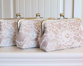 SALE,Silk And  French Chantilly Lace Clutch Set Of 3,Light Ivory/Champagne,Wedding Clutch,Lace Clutch,Bridal Clutch,Bags And Purses