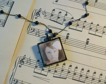 Photo locket  Vintage sepia photo  Square black metal frame  Vintage black beaded rosary chain  Boho girl