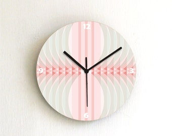 Pink Peach Pastel retro Geometric Modern bedroom living room unique decorative handmade graphic design wall clock