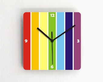 Rainbow Colorful stripes Geometric unique square kitchen living room bedroom handmade graphic design paternned decorative Wall Clock