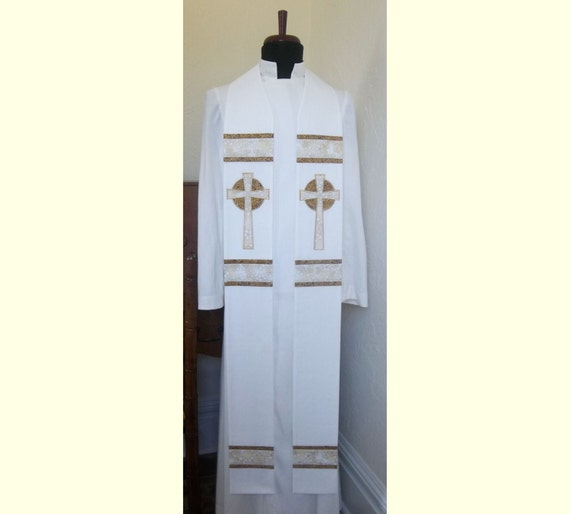 White Clergy Stole with Celtic Crosses   -- Will ship Will ship November 20 - December 18, 2015