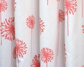 Pair of designer curtain panels drapes, dandelion coral and white cotton