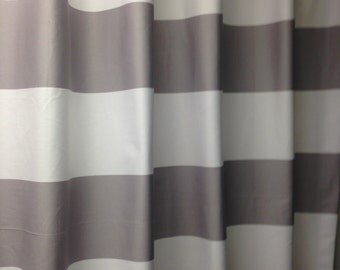 "Two designer curtain panels, drapes, rod pocket horizontal 3"" stripe, grey and white cotton"