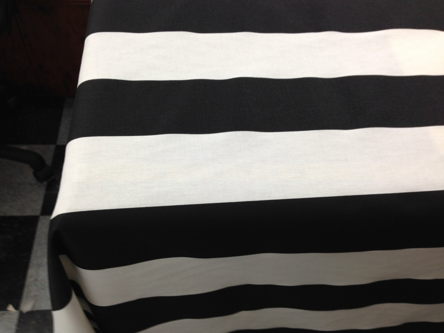 Stripe Tablecloth Overlay Table Topper Black And White