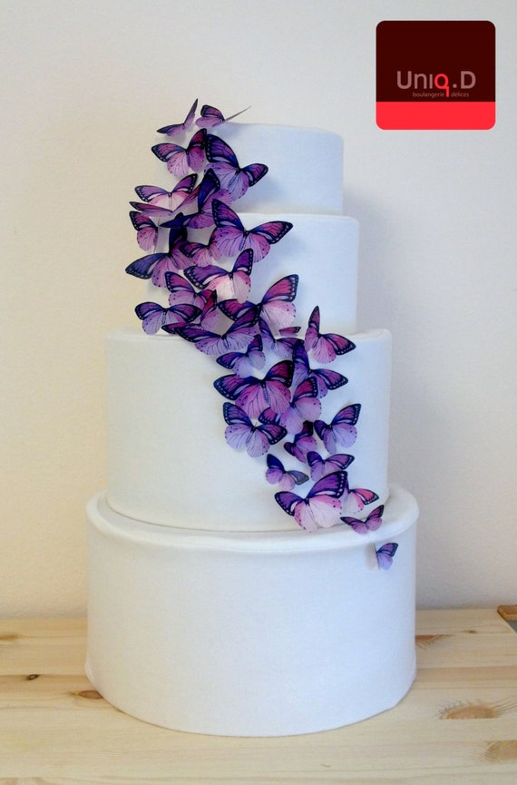 purple wedding cake decorations buy 38 get 6 free purple edible butterflies purple wedding 18912