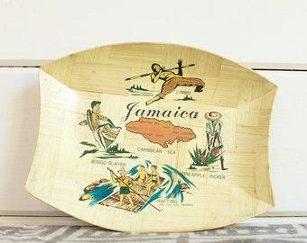 Vintage Souvenir Bamboo Plate/Tray, Jamaica