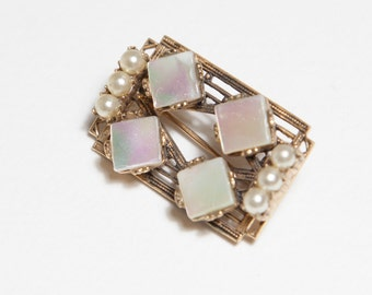 Rectangular mother of pearl pin gold costume jewelry brooch