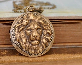 lion locket, vintage style brass locket, BRAVE ONE, round pendant lion locket necklace in antiqued brass, photo locket necklace,