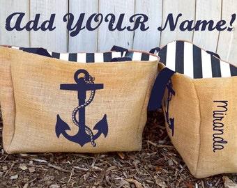 Personalized Custom Nautical Anchor Burlap Market Tote Bag - Handmade