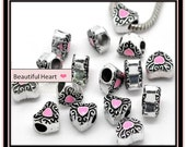 Heart Charm with Pink Enamel Heart Center ~ Fits European Style Jewelry
