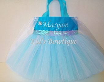 Tutu Bag - Add to your Frozen Princess Elsa Halloween Costume- Personalized Tutu Tote Bag