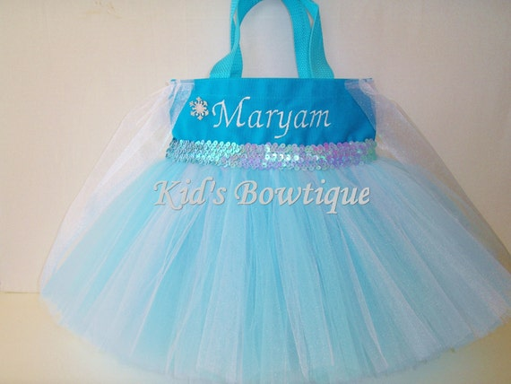 Halloween Tutu Bag- Gift for a Frozen Princess Elsa Fan - Personalized Halloween Bag
