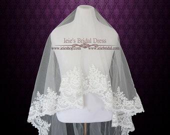 Drop Veil | Cathedral Floral Lace Mantilla Veil | Wedding Veil Cathedral | Bridal Veil | Lace Wedding Veil | Ivory Wedding Veil | VG1019