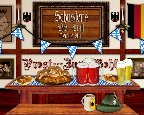 Oktoberfest, German Beer Hall, personalized art, home bar print, Bavarian bier, German wedding, housewarming gift, roll out the barrel,prost