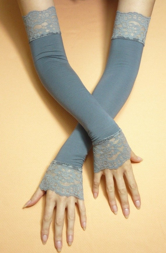 Long grey armwarmers with wide lace romantic retro by for Lace glove tattoo
