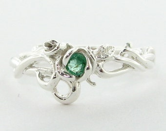 Rose Garden Ring, Silver with Emerald