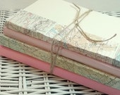 Book bundle Home Decor wedding centerpiece Decorative Book Stack tied with twine Blush Pink, reclaimed old books with map for travel wedding