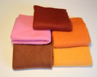 Merino Wool prefelts: 5 colours for Wet Felting or Needle Felting, English Autumn