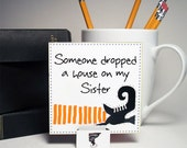 HOUSE On MY SISTER, desktop art, wicked witch, sister gift, red black white, stocking stuffer