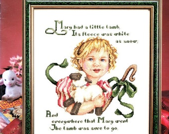 Mother Goose Babies Song of Six Pence Mary Had Little Lamb Little MIss Muffet Counted Cross Stitch Embroidery Patterns Craft Leaflet 3677