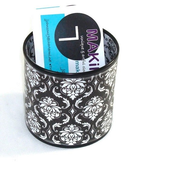 Black and White Damask Decorative Can Business Card Holder Desk Accessory - 323