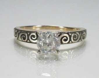 Vintage European Cut Diamond Engagement Ring - 0.62 Carat Diamond - Appraisal Included