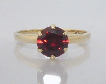 Vintage Synthetic Ruby Solitaire Engagement Ring - 10K Gold Ring