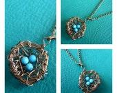 Brass Wire Birds Nest with Tint Aqua Beads