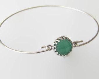 Sterling Silver Bracelet, Gemstone Bracelet, Green Onyx Bracelet, Crown Bracelet, Bangle Bracelet, Jewelry, Friendship Bracelet, Gift