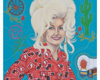 """12"""" x 12"""" - Dolly Parton inspired print signed by the artist"""