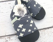 Organic Vegan Midweight Canvas Plus in Grey / non-slip soft sole baby shoes / made to order / Babies Toddlers
