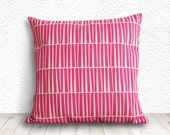 Geometric Pillow Cover, Pillow Cover, Fuschia Pillow Cover, Linen Pillow Cover, 18x18 - Printed Geometric - 013