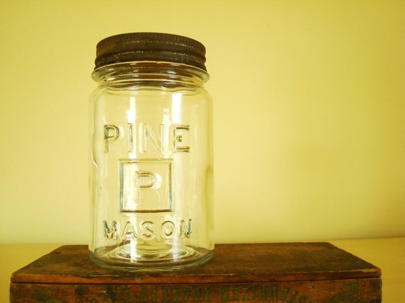 Pine Mason jar, clear pint, rare early Mason jar, collectible canning jar, graphic logo, Initial P, antique jar
