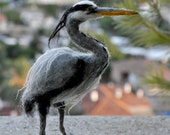 Needle Felted Bird. Grey heron.