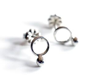 mini sterling silver circle stud earrings , bubble post earrings , silver circle post earrings , minimalist sterling silver studs