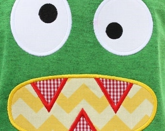 694 Monster Face Machine Embroidery Applique Design