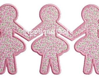 190 Paper Dolls Machine Embroidery Applique Design