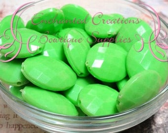 24mm x 20mm Lime Green Oval Faceted Acrylic Beads Qty 100 Wholesale