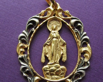 Vintage Spanish Miraculous Virgin Mary Sterling Silver Religious Medal Catholic Vermeil Pendant  SS534